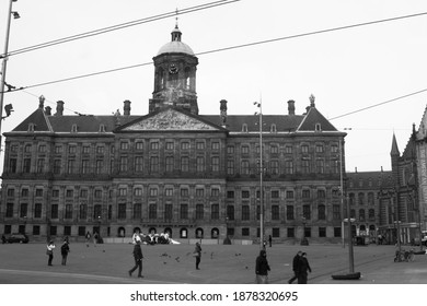 royal palace at the dam squre , amsterdam in black and white