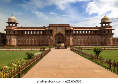 Royal palace inside Agra Fort. Agra Fort built in Mughal Indian architecture style has been designated as a UNESCO World Heritage site was once the residence of the Mughal dynasty till 1638.