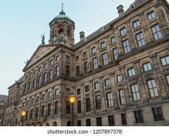 Royal Palace (Koninklijk Paleis) in Amsterdam, Netherlands.