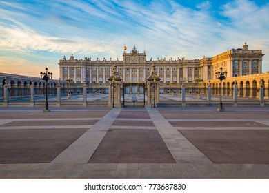 Royal Palace in Madrid in a beautiful summer day at sunset, Spain