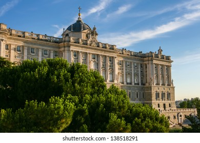Royal Palace of Madrid (Palacio de Oriente) in Spain with beautiful sky at sunset