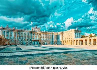 Royal Palace in Madrid (Palacio Real de Madrid) and Armory Square in the evening time. Spain.