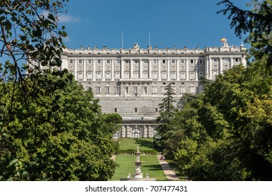 Royal Palace of Madrid seen from the gardens of the Campo del Moro in Madrid