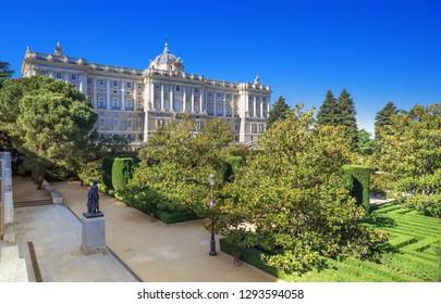 Royal Palace of Madrid view from Sabatini gardens, Sapin