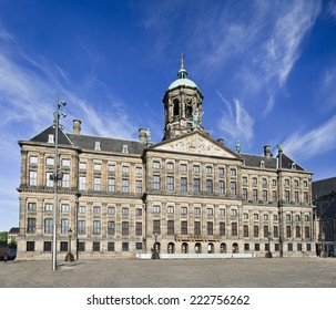 The Royal Palace on Dam Square in Amsterdam. Built as city hall during Dutch Golden Age in seventeenth century.