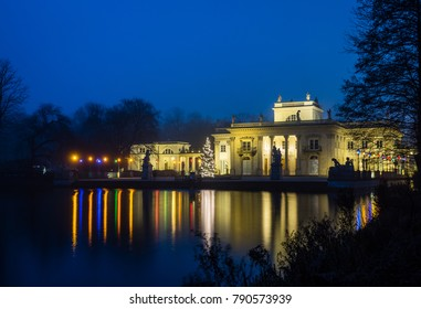 Royal Palace on the Water in Lazienki Park at night  in Warsaw, Poland