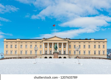 The royal palace of Oslo on a sunny winter day