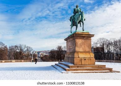 Royal palace and slottsplassen in winter Oslo Norway