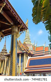 The royal pantheon, Prasat Phra Thep Bidon, which means the shrine of the celestial ancestors inside the famous Buddhist temple the Wat Phra Kaeo, the Grand Palace and residence of the king