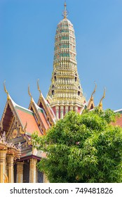The royal pantheon, Prasat Phra Thep Bidon, inside the famous Buddhist temple and Grand Palace, the Wat Phra Kaeo. Situated in the historic centre of Bangkok, the residence of the king