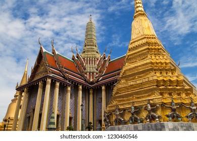 Royal Pantheon and two Golden Chedis at Wat Phra Kaew, Bangkok, Thailand.