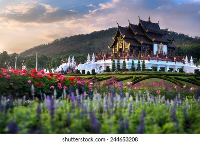 Royal Pavilion (Ho Kham Luang) at Royal Park Flora Expo,traditional thai architecture in the Lanna style, Chiang Mai province, Thailand