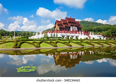 The Royal Pavilion (Ho Kham Luang) in Royal Park Rajapruek near Chiang Mai, Thailand