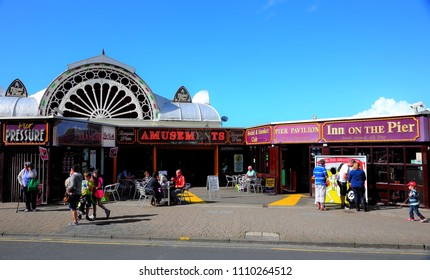 Royal Pier in welsh coastal town Aberystwyth (United Kingdom), 8-28-2015