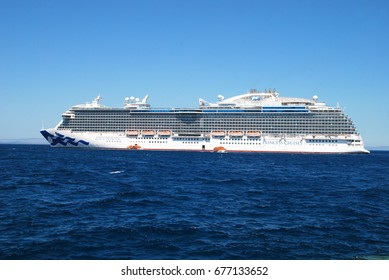 Royal princess the 330mt long cruise ship of princess cruises at its arrival outside port of Chios/Greece on 12/7/2017 with 3.000 visitors coming from monte negro