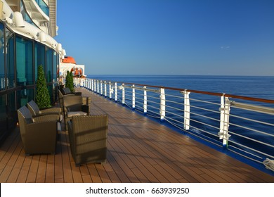 ROYAL PRINCESS, CARIBBEAN SEA - MARCH 28, 2017 : Open deck of Royal Princess ship. Royal Princess ship is operated by Princess Cruises line and has a capacity of 3600 passengers