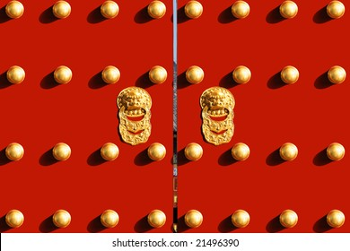 Royal Red Gates with Golden Lion of Chinese