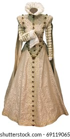 Royal renaissance woman dress isolated with clipping path