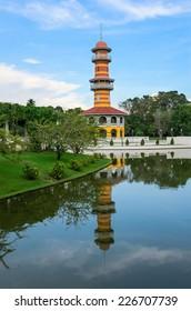 The Royal Residence (Phra Thinang) and Sages Lookout Tower (Ho Withun Thasana) of the Thai royal Summer Palace of Bang Pa-in near Ayutthaya and Bangkok