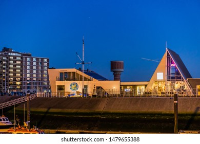 The royal scarphout yacht club of Blankenberge, lighted building by night, The city harbor, Belgium, 15 february, 2019
