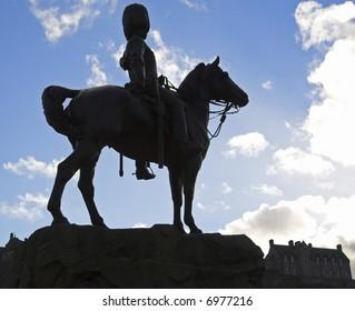 The Royal Scots Greys' Memorial Statue, Princes Street, Edinburgh, Scotland, UK
