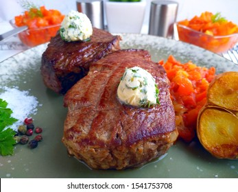 Royal Steak Mignon with Green Butter and Vegetables