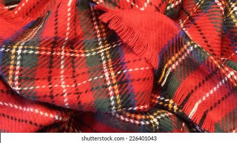 Royal Stewart Tartan plaid scarf with fringe