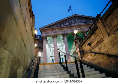 The Royal Stock Exchange, London, at Night. Stairs and nobody present.