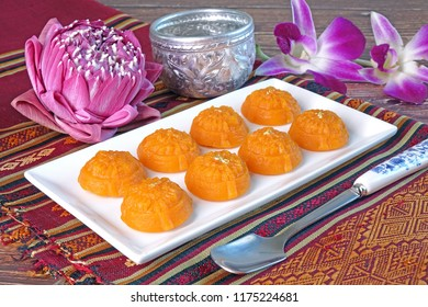 Royal Thai cuisine / Thai dessert : Siamese Golden sweetmeat (Ka-Nom-Thong-Ek), one of nine auspicious desserts in Thai tradition, made from yolk, wheat flour and edible gold.