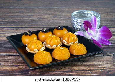 Royal Thai cuisine : Three mixed Golden Thai sweetmeat (Sa Ne Jan, Da Ra Thong and Thong Ek) , famous nine auspicious desserts in Thai tradition, made from yolk, wheat flour and edible gold.