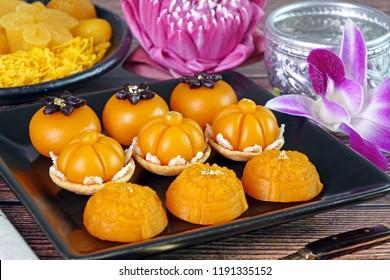 Royal Thai cuisine : Three mixed Golden Thai sweetmeat (Sa Ne Jan, Da Ra Thong and Thong Ek) , famous nine auspicious desserts in Thai tradition, made from yolk, wheat flour and edible gold