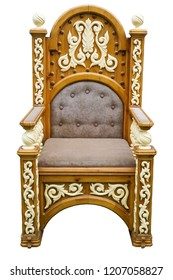 Royal throne vintage wooden armchair isolated on white background