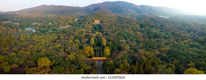 The Royal Tomb of the First Emperor of Ming Dynasty in Nanjing City View From A Drone