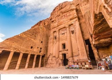 Royal tombs entrance detail, Petra site, Unesco, Jordan, Middle Eas