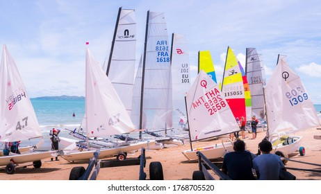 Royal Varuna Yacht Club: Pattaya Thailand, 27 June 2020 : Many colorful sailboats are parked and preparing by many people to go to sea.