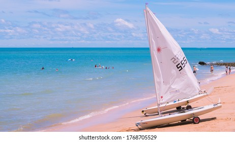 Royal Varuna Yacht Club: Pattaya Thailand, 27 June 2020 : sailboats are parked and preparing to go to sea.