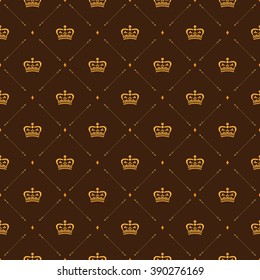 Royal Wallpaper Seamless Pattern With Crown And Decorative Elements Luxury Background