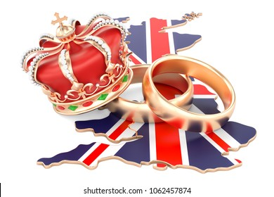 Royal wedding concept. Wedding rings with royal crown on the British map, 3D rendering
