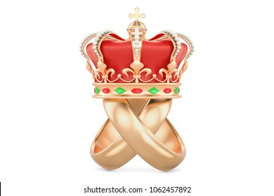 Royal wedding concept. Wedding rings with royal crown, 3D rendering isolated on white background