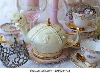Royal Wedding High Tea Bridal Shower - pink cake stand, roses teapot, tea cup and saucer, diamond rhinestone crown princess tiara, gold cutlery flatware, party, queen