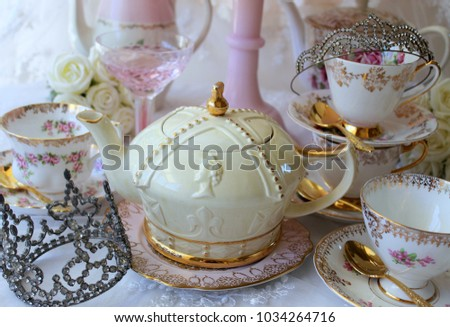 royal wedding high tea bridal shower pink cake stand roses teapot tea cup