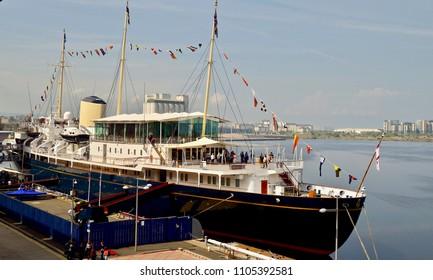 Royal Yacht Britannia berthed in Edinburgh city in the Port of Leith, famous tourist attraction. Edinburgh Scotland UK. JUNE 2018