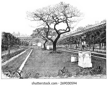 Royal-palace garden, the lawn of the south, vintage engraved illustration. Paris - Auguste VITU 1890.