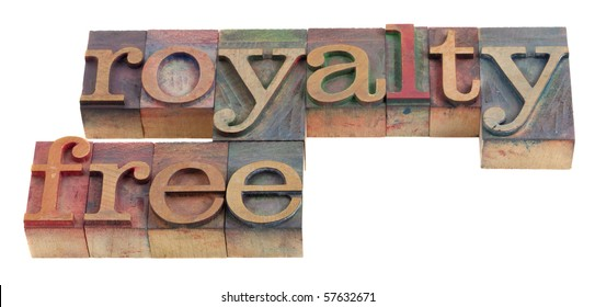 royalty free words in vintage wooden letterpress printing blocks, stained by color ink, isolated on white