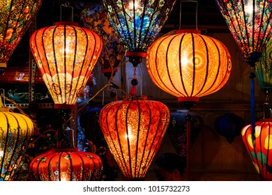 Royalty high quality free stock image of  evening on the walking street of Hoi An with many lanterns. Hoi An, once known as Faifo. Colourful lantern on street for sell