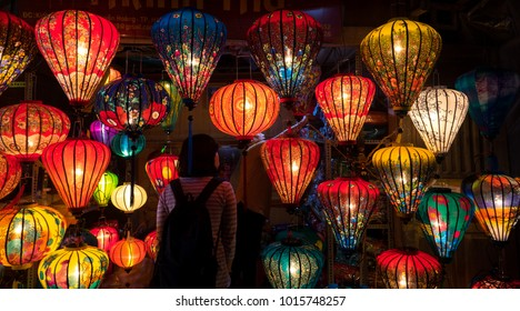 Royalty high quality free stock image of the evening on the walking street of Hoi An with many lanterns. Hoi An, once known as Faifo. Colourful lantern on street for sale