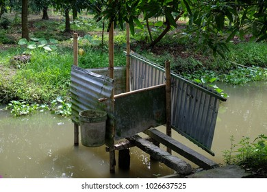 Royalty high quality free stock image of traditional toilet in Viet Nam. Underneath toilet they raise fish