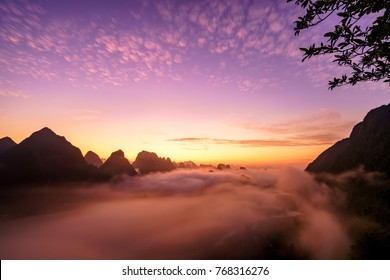 Royalty high quality free stock image aerial view of dawn at Ngoc Con town, Trung Khanh, Cao Bang, Vietnam