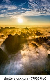Royalty high quality free stock image aerial view of dawn on mountain at Ngoc Con ward, Trung Khanh town, Cao Bang province, Vietnam