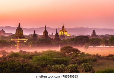 Royalty high quality free stock image aerial view of Bagan, Myanmar temples in the Archaeological Zone.